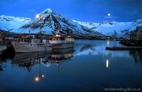 Iceland, Siglufjordur moonrise.